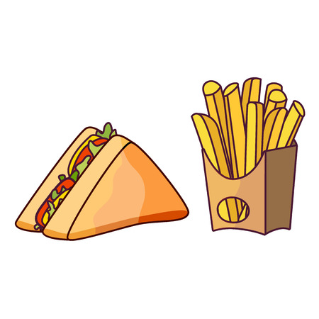 Vector sandwich potato fry set. Fast food flat cartoon isolated illustration on a white background. Triangular fresh sandwich with cheese, tomato and salad and french fries in paper box
