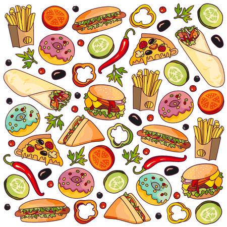 Vector hamburger pizza slice, roll doner kebab aardappel fry sandwich donut ingesteld. Fastfood platte cartoon geïsoleerde illustratie op een witte achtergrond. Fast-food objecten gemengd met verschillende groenten, snoep