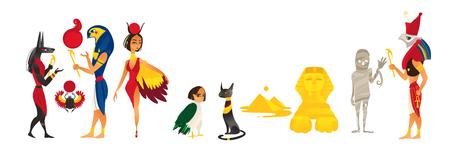 Vector de dibujos animados planos dioses egipcios y conjunto de símbolos sagrados. Ilustración aislada sobre un fondo blanco. Amon Ra Anubis escarabajo, gato momia esfinge Egipto pirámides pájaro Foto de archivo - 84405047