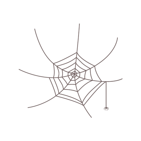 Simple black and white round web with a little, tiny spider hanging from it, isolated cartoon vector illustration. Little spider hanging from its web, Halloween symbol, decoration element