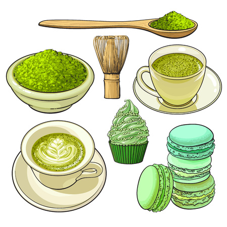 Set of matcha powder, wooden spoon and whisk, green tea and latter cup, cupcake, macaroni, sketch vector illustration isolated on white background. Realistic hand drawing of matcha green tea and food Illustration