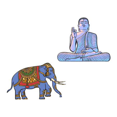 mantra: vector sketch cartoon eastern, oriental statue of sitting in Lotus posture Budda, decorated elephant set. Isolated illustration on a white background. Hand drawn Sri-lanka symbol