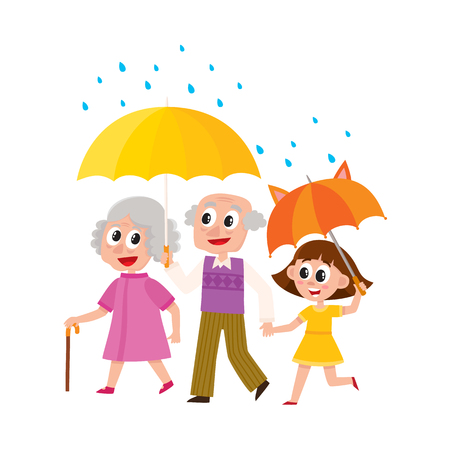 vector grey-haired man and woman walks in the rain happily keeping umbrella in hand. Flat cartoon isolated couple illustration on a white background