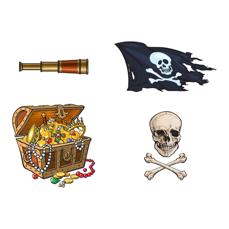 vector cartoon pirates symbols set isolated iilustration on a white background. Skull and cross bones jolly roger flag, treasure chest full of gold, spyglass sail telescope