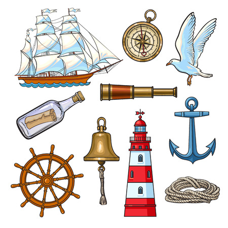 Cartoon nautical elements - lighthouse, anchor, compass, ship, rope, steering wheel, seagull, message bottle, bell, vector illustration isolated on white background. Set of cartoon nautical elements Vectores