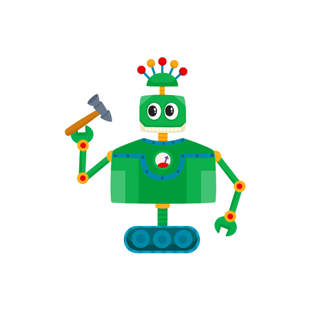 Cartoon illustration of a funny and friendly robot isolated on white background