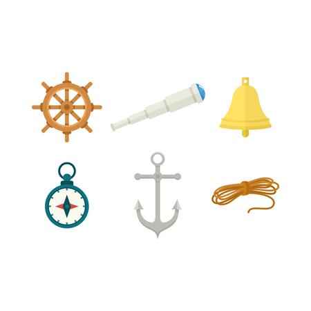 Set van nautische instrumenten geïsoleerd op een witte achtergrond