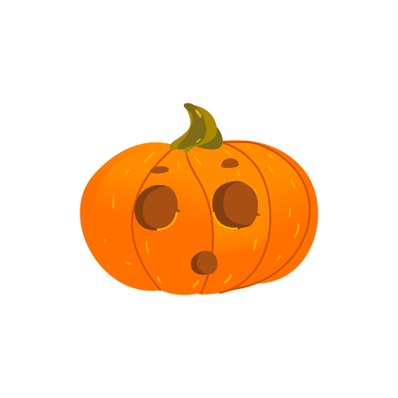 Cartoon illustration of Jack-o-lantern pumpkin isolated on white background
