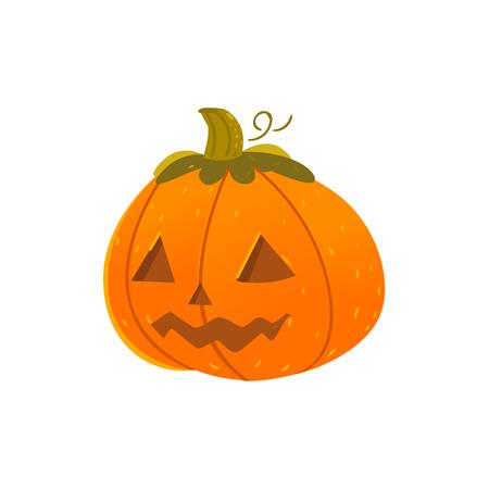 Karikaturillustration eines Kürbises für Halloween lokalisiert auf weißem Hintergrund Standard-Bild - 84476842