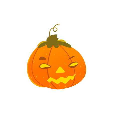 Cartoon illustration of a funny Halloween pumpkin jack-o-lantern with light inside isolated on white background