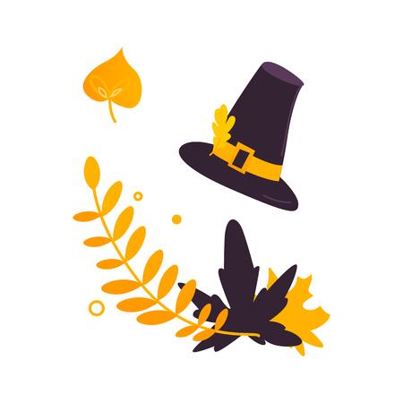 Cartoon illustration of Thanksgiving decor