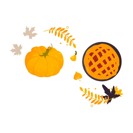 Illustration of a traditional pumpkin and pumpkin pie