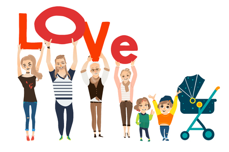 Cartoon illustration of family concept with members holding the word Love