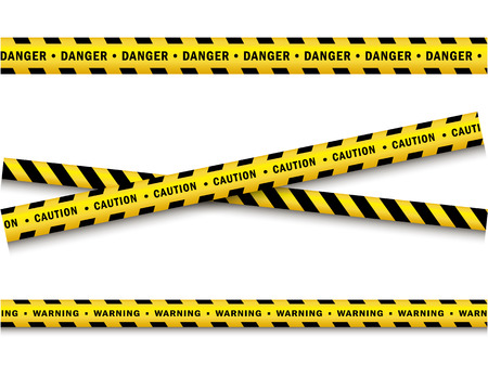 Cartoon illustration of yellow and black police tape set. Çizim