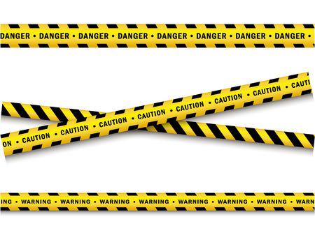 Cartoon illustration of yellow and black police tape set. Illustration