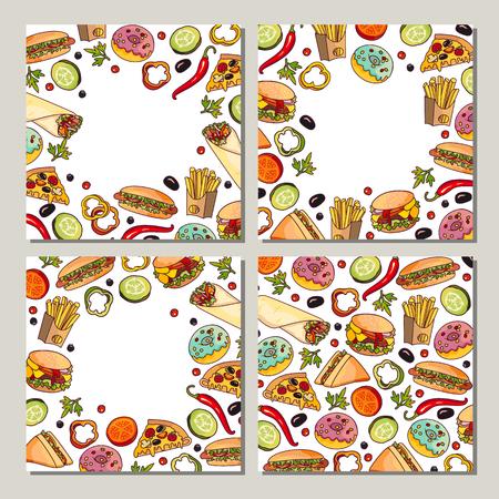 Set van sjabloon met voedselontwerp