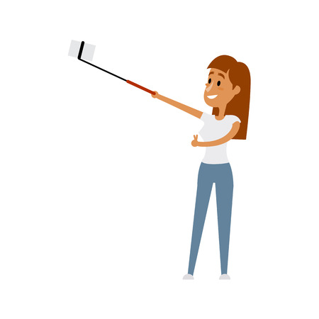 Cartoon illustration of a girl taking a selfie with a selfie stick