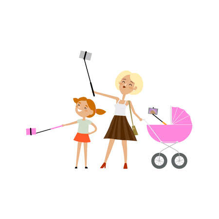 Cartoon illustration of a young woman with daughter taking a selfie with their selfie sticks Illustration