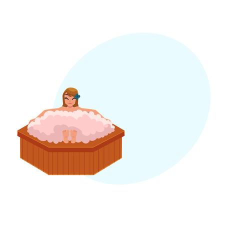 Cartoon illustration of a woman taking a foam bath