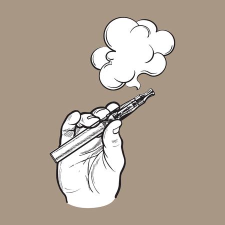 남성의 손에 들고 전자 담배, 전자 담배, 나오는 연기와 증기. 일러스트