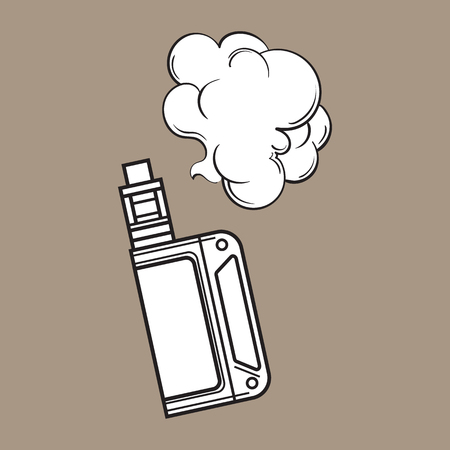 Hand drawn vape, vaping device with smoke cloud, black and white sketch vector illustration isolated on color background.