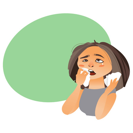 Woman with rhinitis wiping nose with paper tissue, having flu, allergy, cartoon vector illustration isolated on white background with speech bubble