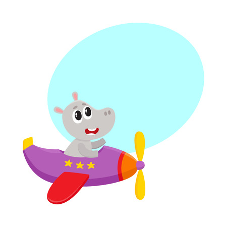 Cute funny hippo pilot character flying on airplane, cartoon vector illustration with space for text.