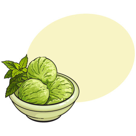 Hand drawn bowl of matcha green tea ice cream scoops illustration with space for text. Illustration