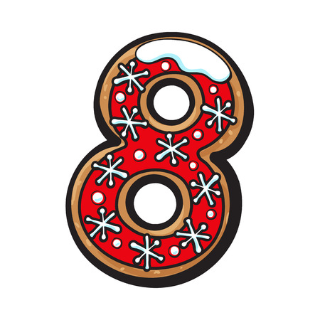 Number 8 shaped homemade Christmas gingerbread cookie illustration isolated on white background.
