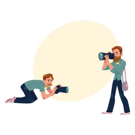 テキストのためのスペースと作業図でカメラマンのセットです。