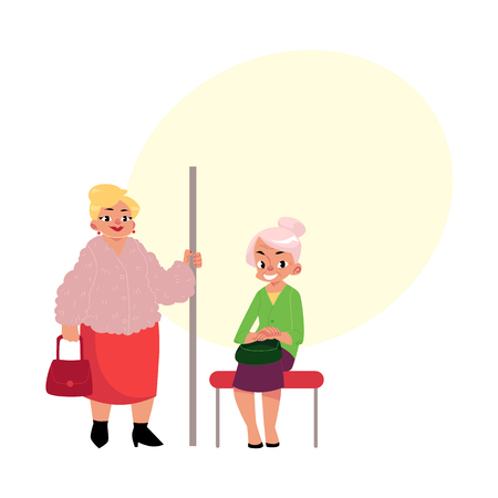Middle aged woman standing and old lady sitting in subway cartoon illustration with space for text.
