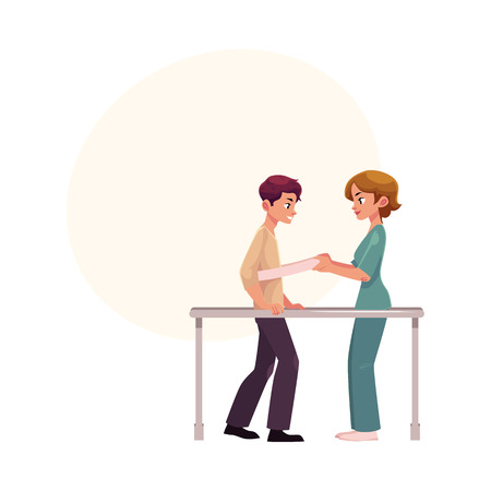Medical rehabilitation cartoon illustration with space for text. Illustration