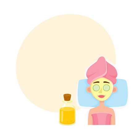 Young woman getting facial mask in spa salon cartoon illustration with space for text.