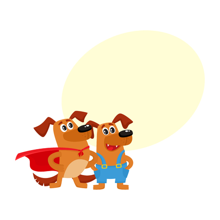 Two funny dog characters illustration with space for text.