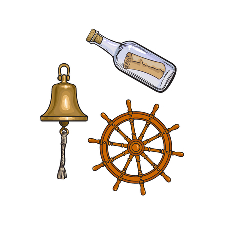 Set of nautical objects - ship bell, steering wheel and message in glass bottle, cartoon vector illustration isolated on white background. Cartoon set of ship bell, steering wheel and message bottle Illustration