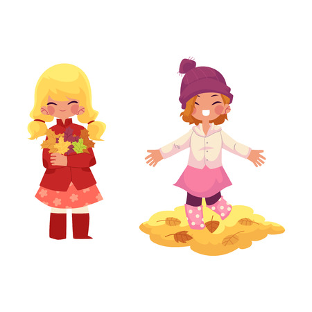 vector girls children wearing autumn clothing, rubber boots rejoice, playing with autumn leaves. cartoon isolated illustration on a white background. Autumn activity kids concept Ilustrace