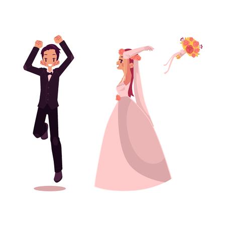 ベクトル新郎と新婦新婚キャラ設定分離イラスト白背景フラット漫画。花嫁が投げるブーケ、新郎ダンス