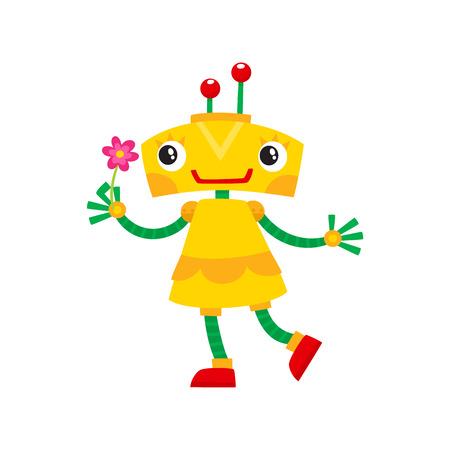 벡터 플랫 만화 재미 친절한 로봇입니다. 작은 인간형 여자 문자로 팔 팔, 미소를 들고 머리에 로케이터와 함께. 흰색 배경에 고립 된 그림입니다.