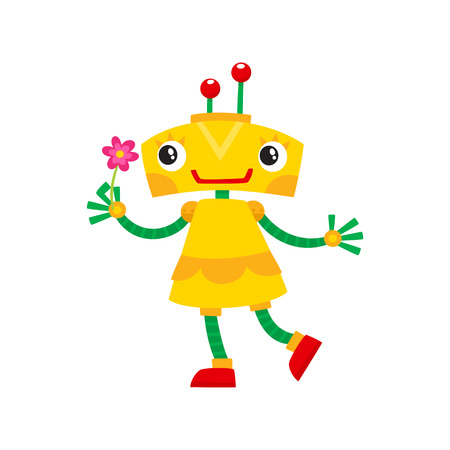 vector flat cartoon funny friendly robot. Small Humanoid girl character with legs arms, with locator on head holding flower smiling . Isolated illustration on a white background. Vettoriali
