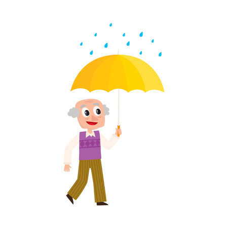 cartoon umbrella: vector grey-haired man walks in the rain happily keeping umbrella in hand. Flat cartoon isolated illustration on a white background Illustration