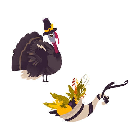 Funny farm hen turkey and cornucopia, horn of abundance, Thanksgiving symbols, cartoon vector illustration isolated on white background. Cartoon turkey and cornucopia, Thanksgiving Day symbol