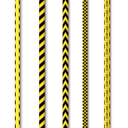 黒黄色の警察のテープ セットをベクトルします。フラットは、白い背景の上の隔離された図を漫画します。Forencics、調査官を囲む黒のストライプと  イラスト・ベクター素材