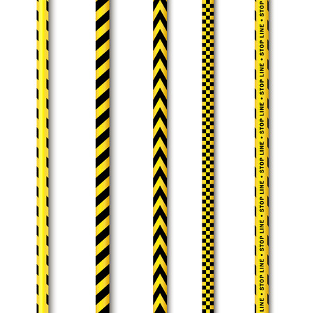 vector yellow black police tape set. Flat cartoon isolated illustration on a white background. Yellow danger tape with black stripes enclosing for forencics, investigators. Иллюстрация