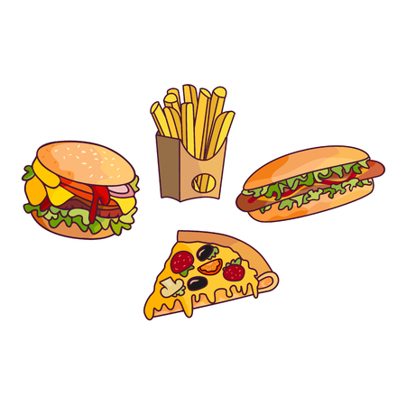 hot dog: Vector sandwich, burger hot dog set. Fast food flat cartoon isolated illustration on a white background. Triangular fresh sandwich with cheese, tomato and salad