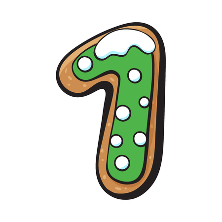 Glazed one, 1 number shaped homemade Christmas gingerbread cookie, sketch vector illustration isolated on white background. Decorated Christmas glazed gingerbread cookie in shape of one, 1 number Иллюстрация
