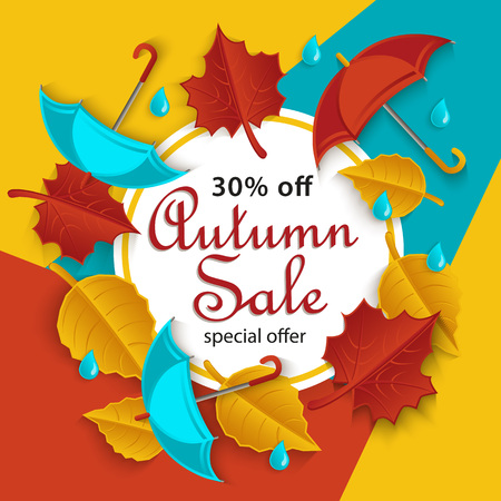 Fall sale, promotion banner with white round frame and red, yellow, orange autumn leaves, flat cartoon vector illustration. Fall sale banner template with flat cartoon autumn leaves Stock Illustratie