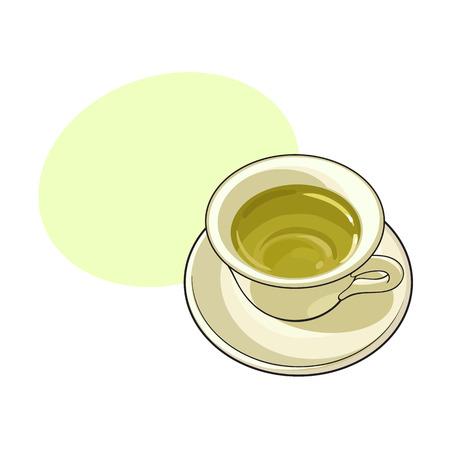 中国、緑茶飲料、白い背景で隔離のスケッチ ベクトル図の磁器カップ。吹き出しの磁器に手描きの緑茶飲料