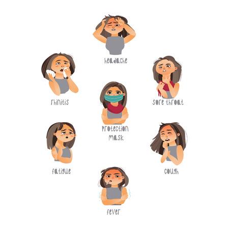 Vector jonge zieke meisjes die lijden aan verschillende ziektesymptomen koorts, keelpijn hoofdpijn, vermoeidheid, hoesten rhinitis. Vlak geïsoleerde illustratie op een witte achtergrond. Ziektesymptomen concept