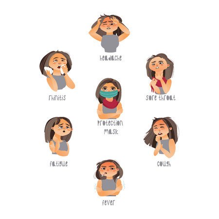 Vector young sick girls set suffering from different disease symptoms fever, sore throat headache, fatigue, cough rhinitis. Flat isolated illustration on a white background. Illness symptoms concept