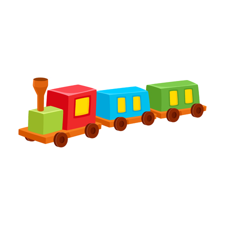 Vector train with blocks toy flat illustration. Kid plastic locomotive, colorful toy isolated on a white background. Children education, growth and development concept.